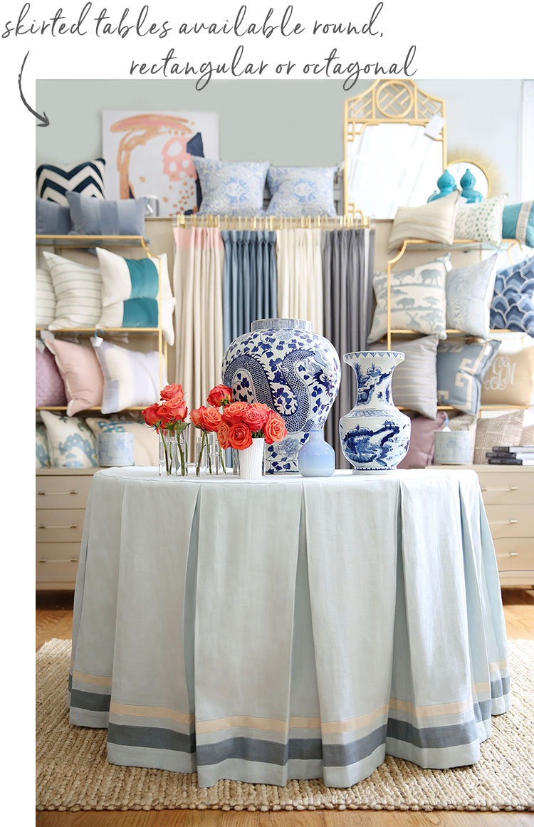 Custom linen table skirts - Studio Linen Collection from A. HOME