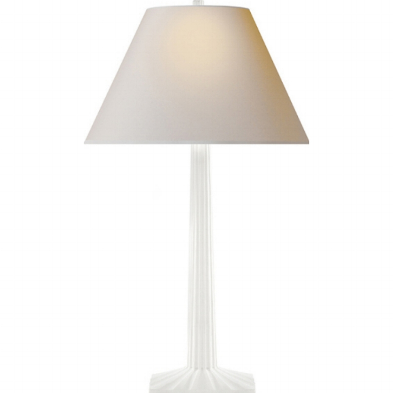 WHITE PLASTER FLUTED COLUMN LAMP