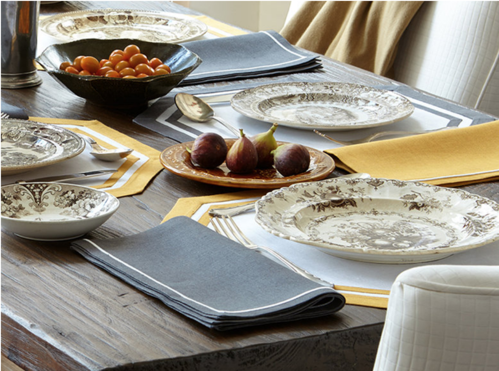 Matouk's Casual Couture Table Collection. Available at A. HOME