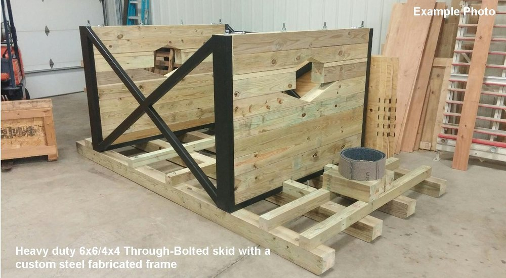 (what the...)custom freight fixtures - This custom skid fixture was designed to carry a large and very heavy machine part. We designed a custom, fabricated steel frame that added strength, and It also made the system faster and easier to load/unload in a difficult location in the field.We can design and build a custom solution for you. Contact us.