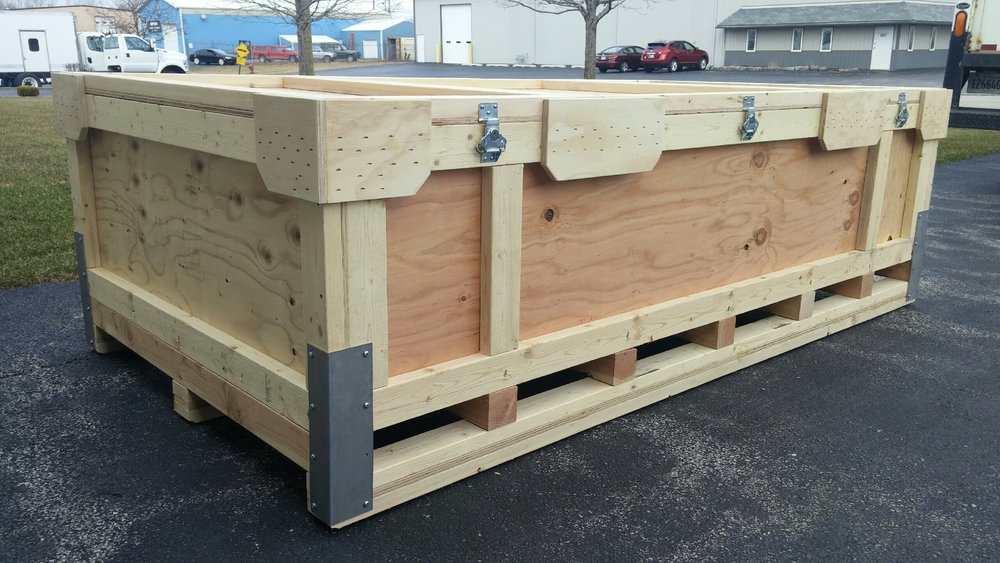 heavy duty with removable lid - AVAILABLE IN ANY SIZE, this top-loading re-usable crate, can be used for trade show displays or shipping multiple round trips. They feature a removable lid secured with draw-latches. No tools required. Easy.Look at this thing. With protection like that...No worries.