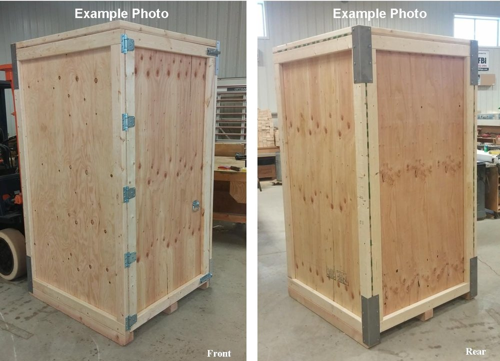 Tall crate with a hinged door - A tall reusable crate featuring a hinged door with heavy duty, hinges, and slide-bolt locking hardware. Add a ramp for your wheeled machine, server rack or medical equipment? Sure! Shelf above that with some carpet on it? Sure!What could you use this crate for?