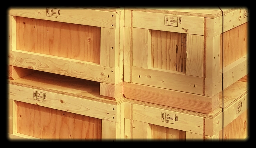 Certified for export. International shipping crates and skids. - All SOLID-WOOD PACKAGING (CRATES OR SKIDS) MUST BE STAMPED AND CERTIFIED ISPM-15Compliant for export. (see below for more info).