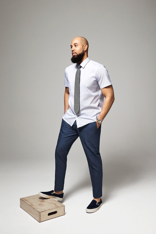 Jetsetter Short Sleeve Dress Shirt (Navy Pencil Stripe)   ,    Linen Trousers (Blue Yarn Dye)   ,    Cotton Necktie (Grey Chambray)