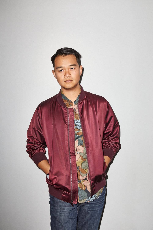 Jonny wears the    Boulevard Bomber Jacket (Burgundy)   , the    Riviera Short Sleeve Shirt (Olive Roam Coat)    and the    Blue Jean (Roanoke Medium Wash)