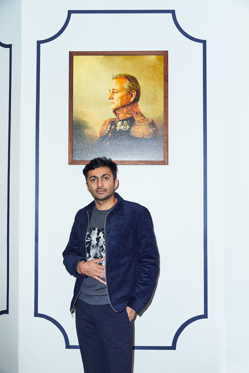 Nimesh, in front of a famous masterpiece wears the    Lightweight Wool Crew Neck (Charcoal Lion)   , the    Corduroy Shirt Jacket (Navy)   , and the    Stretch Wool Dress Pants (Navy)
