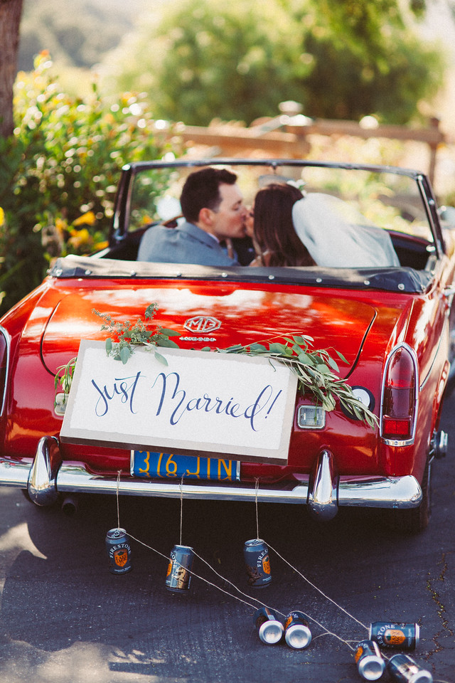 vintagle car just married epiphany boutique carmel california