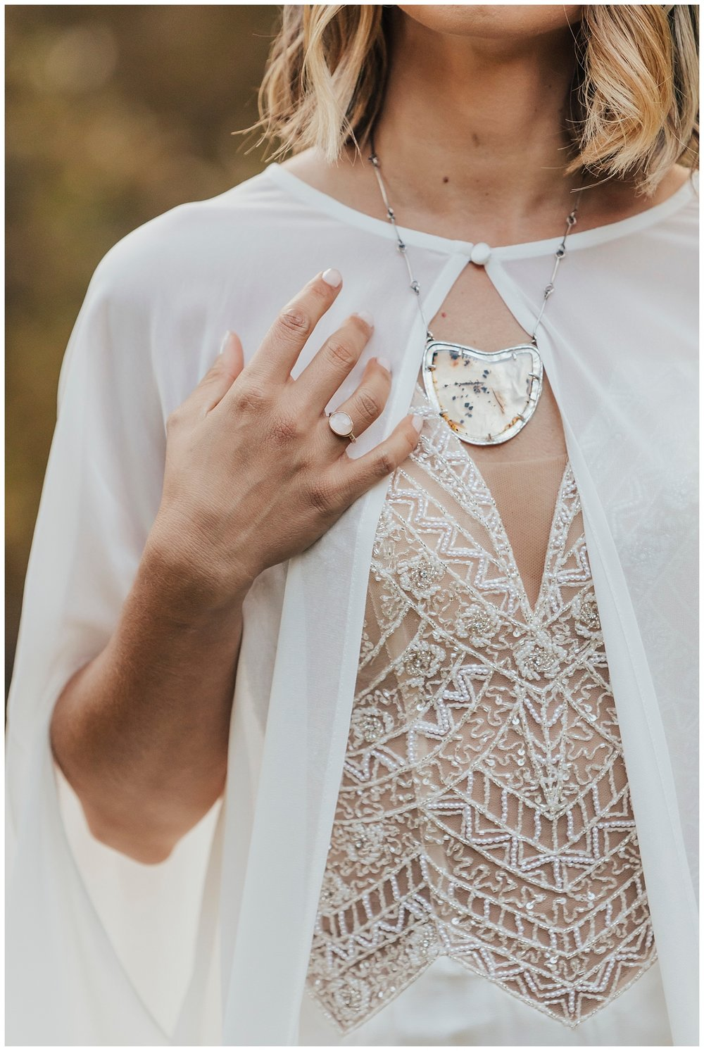 carol oliva photography bridal boho cape and custom necklace