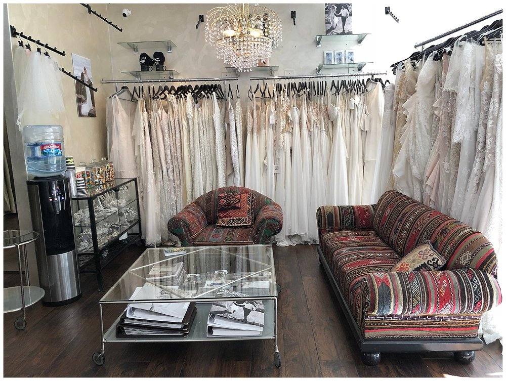 Our sitting area at Epiphany Bridal Boutique in Carmel-by-the-Sea, California
