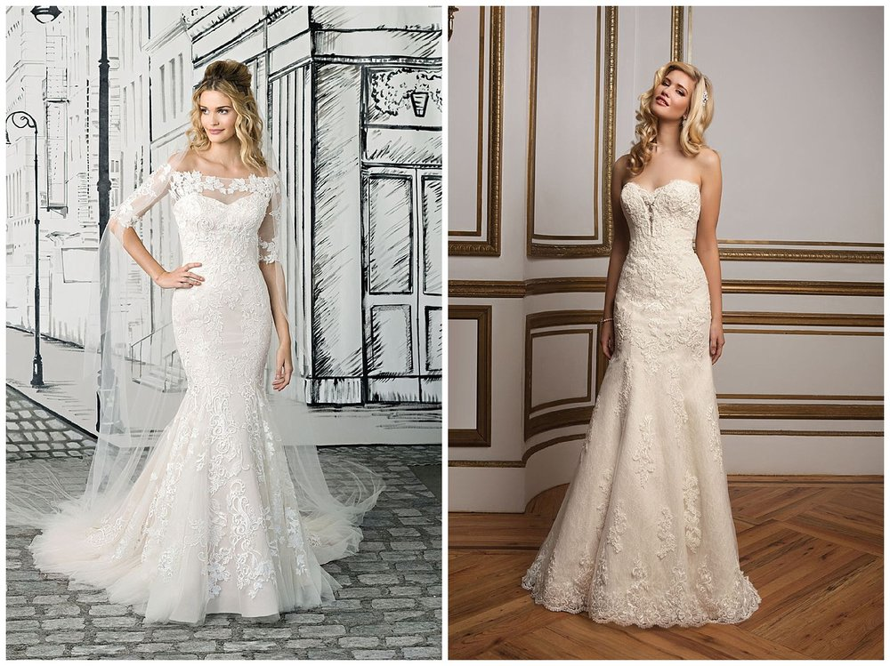 Gowns by Justin Alexander Bridal. We'll have over 50-60 gowns from this collection available! (dress pictured on right has SOLD)