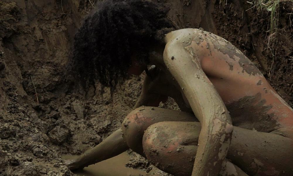 Image credit: Jade Montserrat, Clay , Stills from performance to camera made with Webb-Ellis, 2015