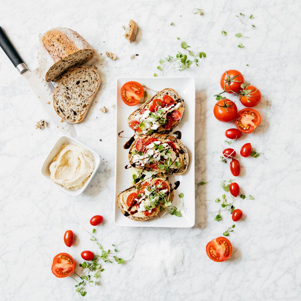 Tomato + Burrata Hummus Toast - with Sabra Hummus