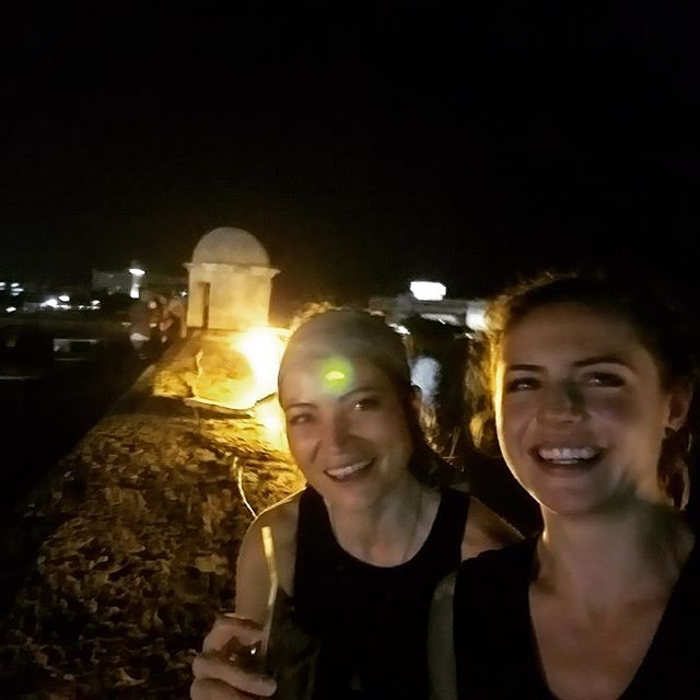 Dance party. On top of the last fort taken in Cuba. Best first holiday ever.  @taymoore17 . . . . . . . . . . #havana #cuba #danceparty #malecon