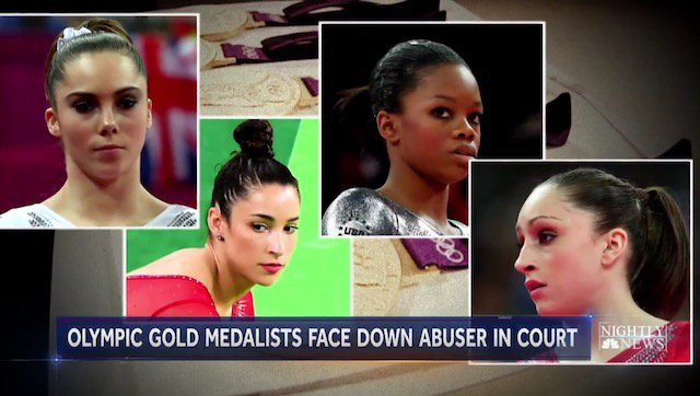 From left to right: McKayla Maroney, Aly Raisman, Gabby Douglas, and Jordyn Wieber