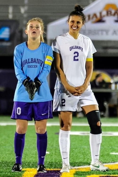 Celia (right) while playing for UAlbany