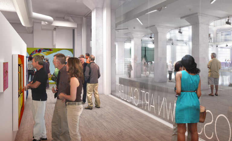 Artist's rendering of the Crosstown Art Gallery — one of the many spaces where Crosstown High students will learn.