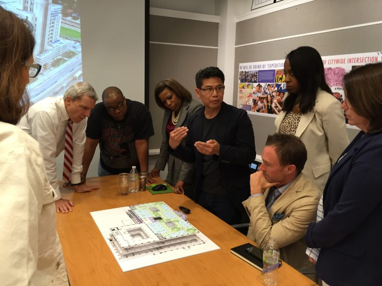 Architect Trung Le, of WONDER, By Design, presents his first floorplans to the Crosstown High board in May.