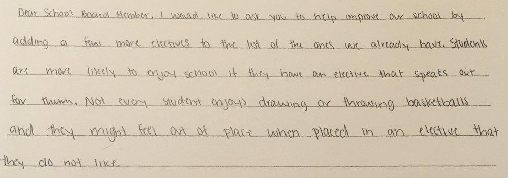 - Karla, Grade 8