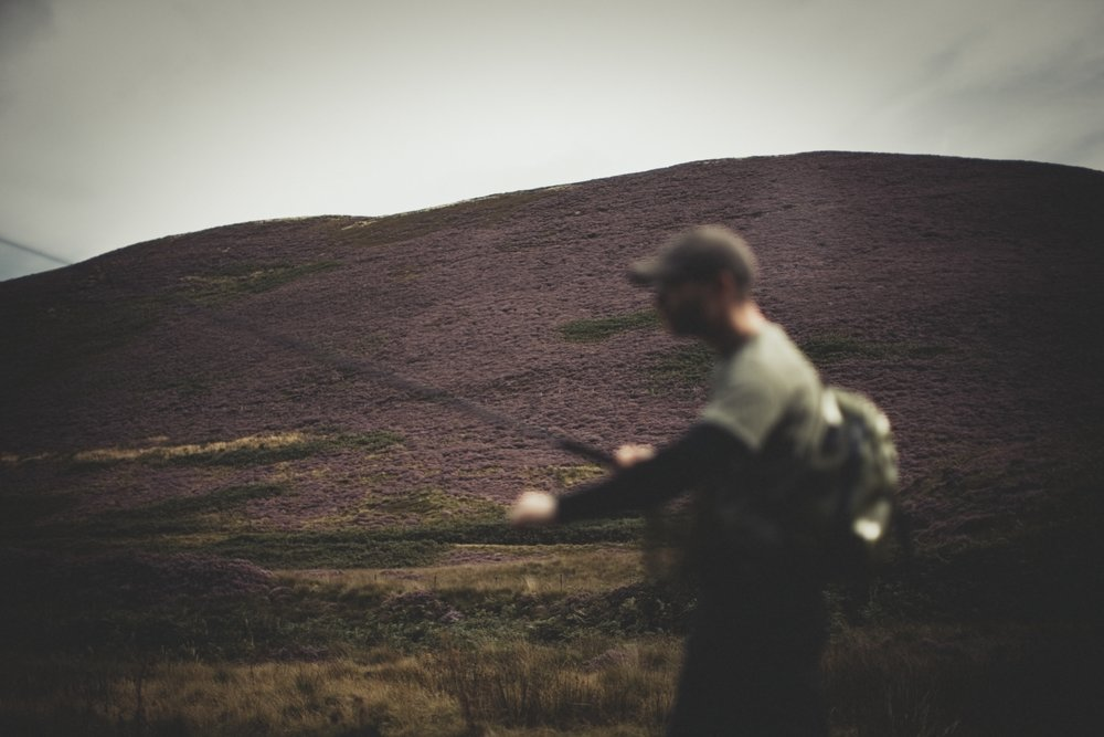 august heather on the surrounding hills. Fly fishing in England, not orvis or simms