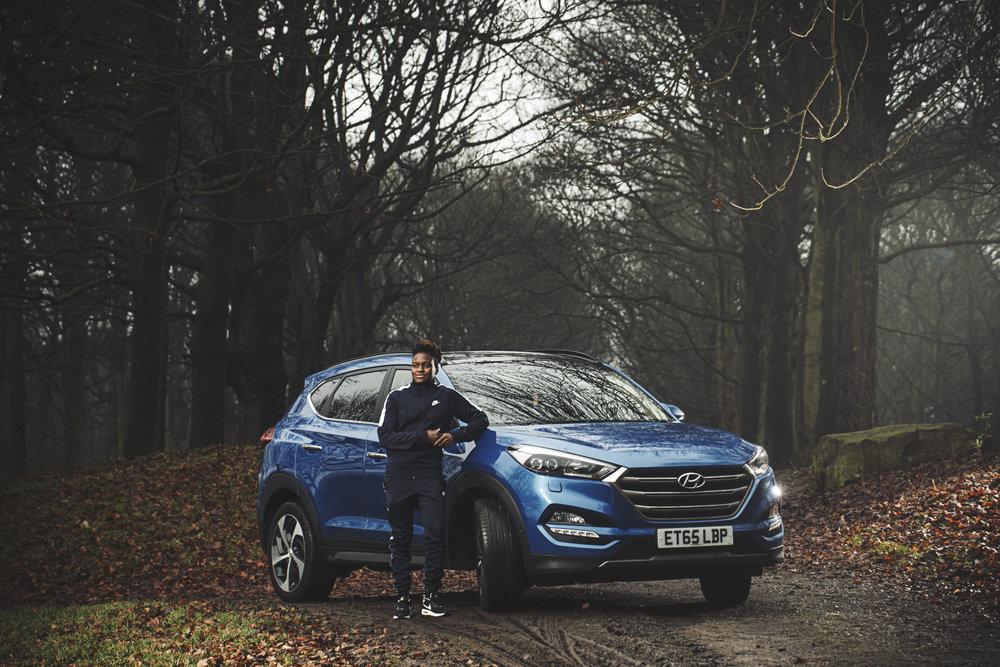 Nicola Adams in Temple Newsam park, Leeds, with her Hyundai Tucson 2.0 CRDi 136PS Premium SE