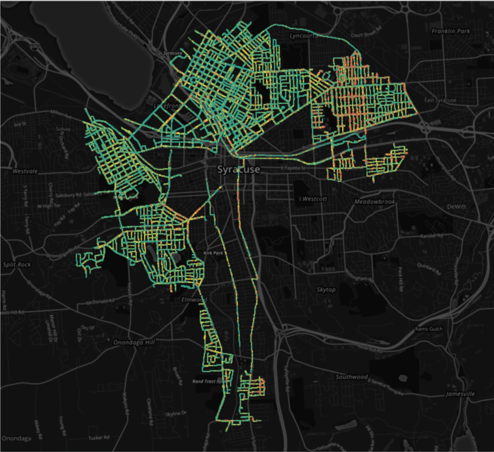 ARGO's 2016 survey of Syracuse, NY's street conditions. Over 110,000 images and upto 500 miles of street condition data were collected using 1 vehicle in just 10 days!