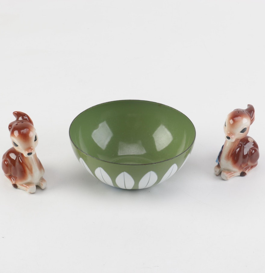Ceramic Tableware Including Deer Spice Shakers