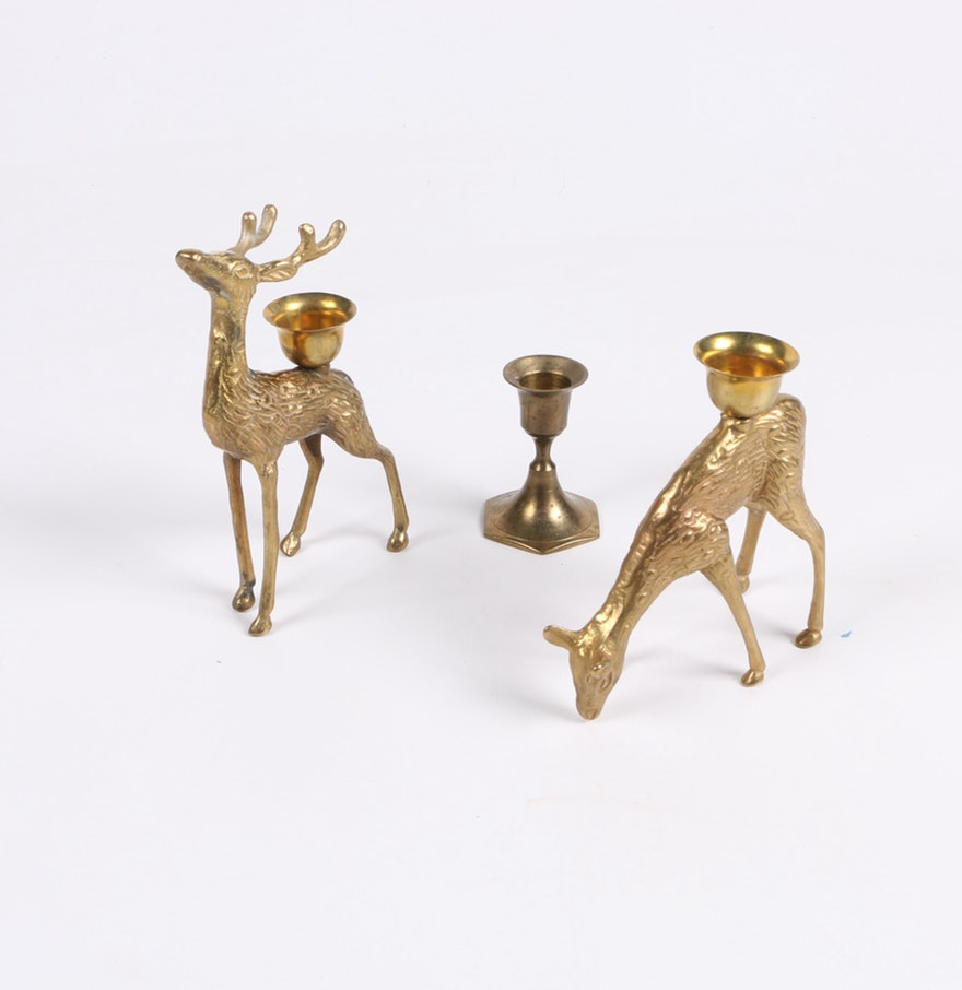 Pair of Brass Deer Candleholders and Indian Candleholder