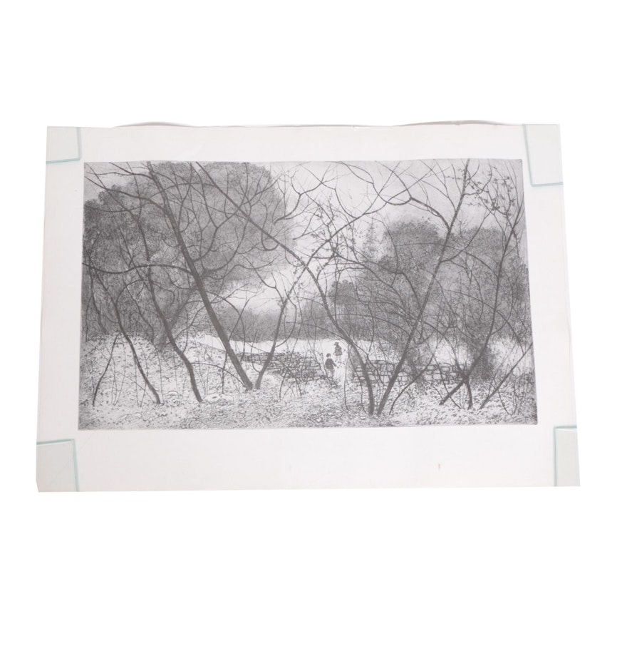 Halftone Print on PapeHalftone Print on Paper of Children in a Forestr of Children in a Forest