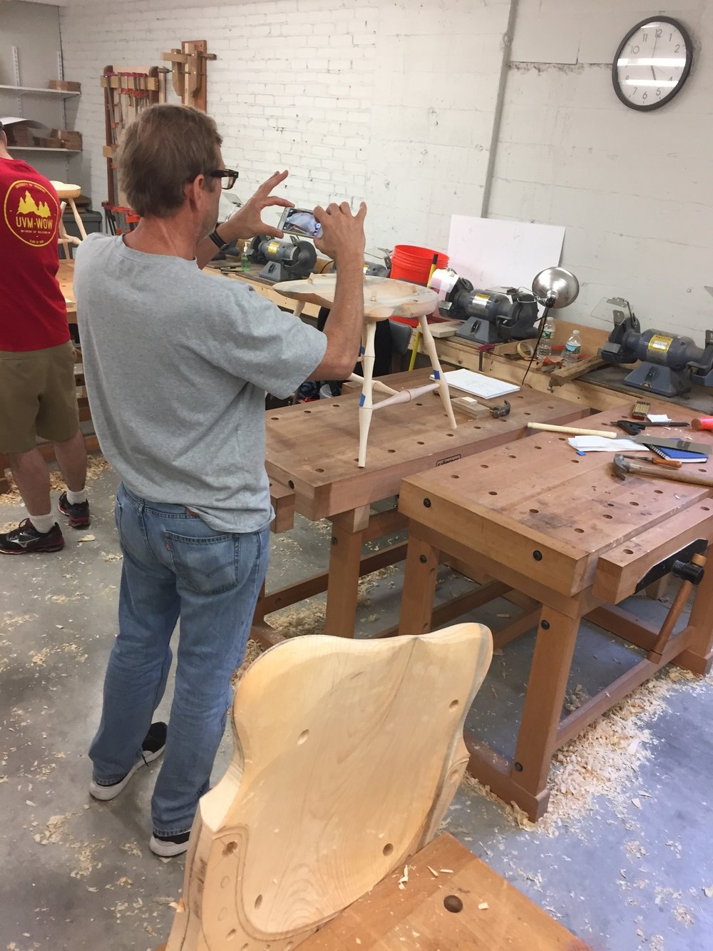 - After making chairs for so many years, one can easily forget the magic of seeing it come together for the first time. I love seeing the chairs through the eyes of the students as they start to come together.Here is Tomas at my most recent class at North Bennet Street. He came all the way from Munich to make a c-arm!