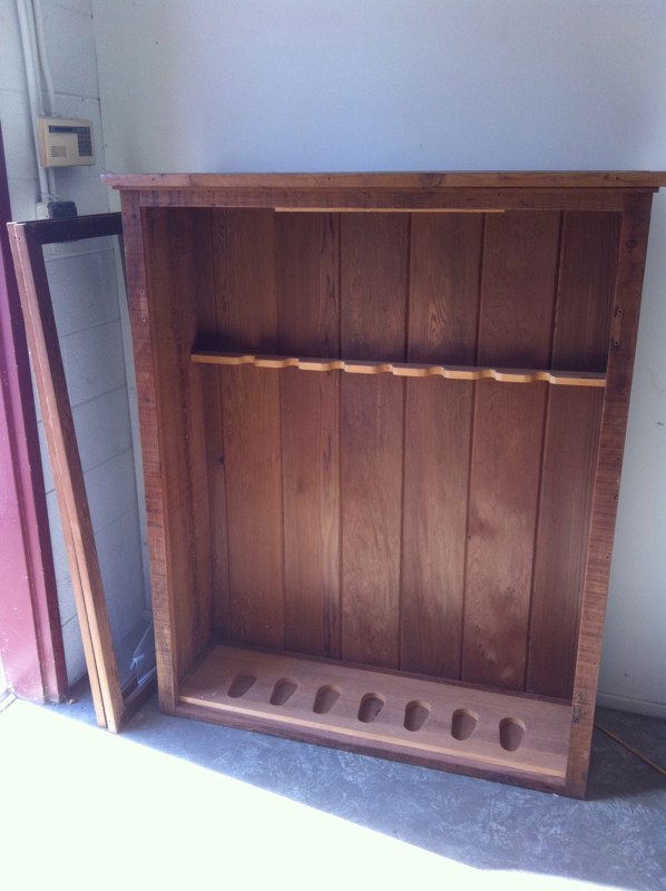 BEFORE - Redwood gun cabinet turned into hutch