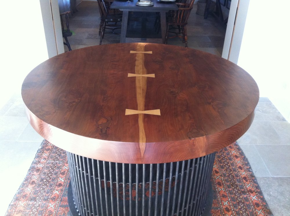 "CUSTOM - 4"" thick redwood slab table"