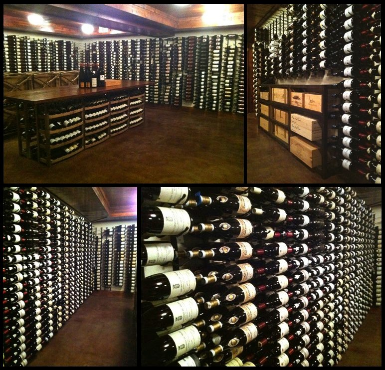 CUSTOM - Remodeled wine cellar with custom 12' bar