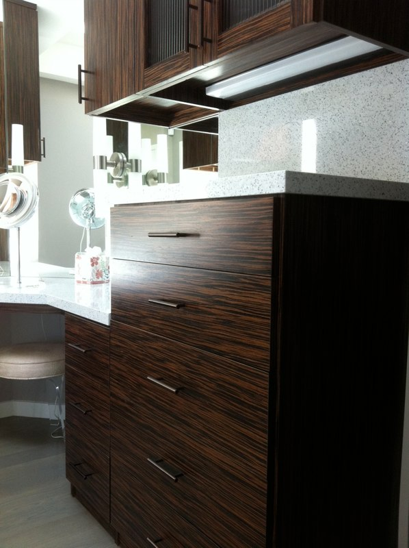CUSTOM - Clear finish Macassar cabinets