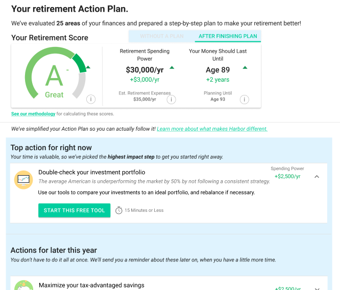 your Retirement action plan - Use this tool to analyze 25 areas of your finances to and create a custom action plan in 10 minutes.Find out the top actions that will have the biggest impact on your retirement!