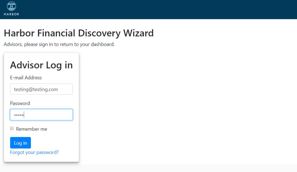 Advisor Dashboard Login Screen