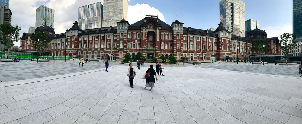 A panoramic shot of the beautiful Tokyo Station.