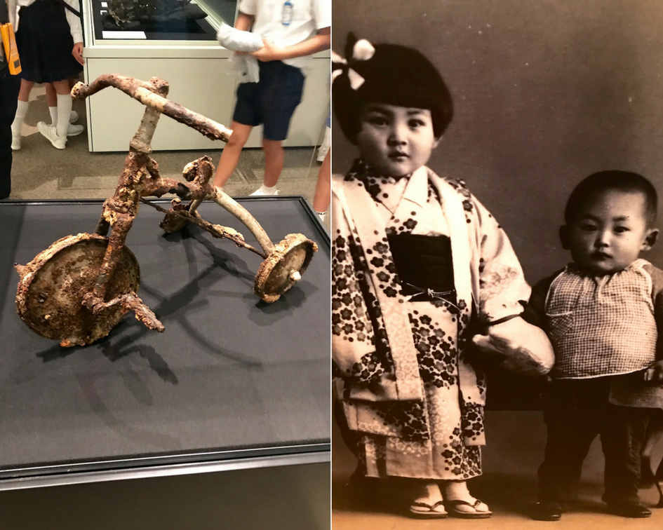 Shinichi's tricycle (left), and a picture of Shinichi with his sister (right).
