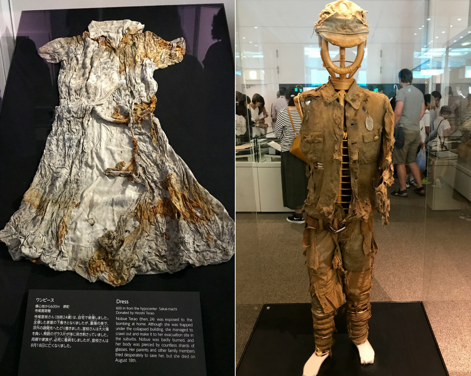 The burned, torn, and tattered clothing of young civilians whose lives ended shortly after the bomb hit.