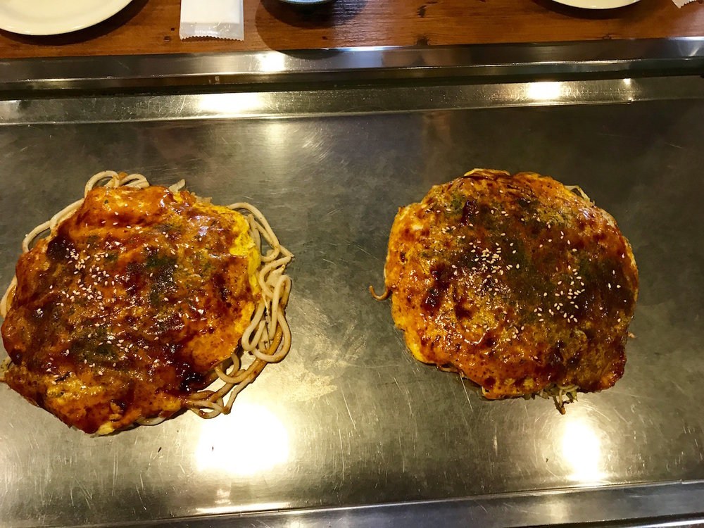 The favorite famed local cuisine: okonomiyaki.