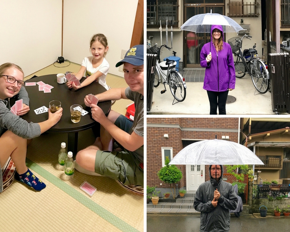 We played a lot of card games and took several walks through the rainy Fushimi neighborhood as we waited and waited and waited for Typhoon Talim to arrive.