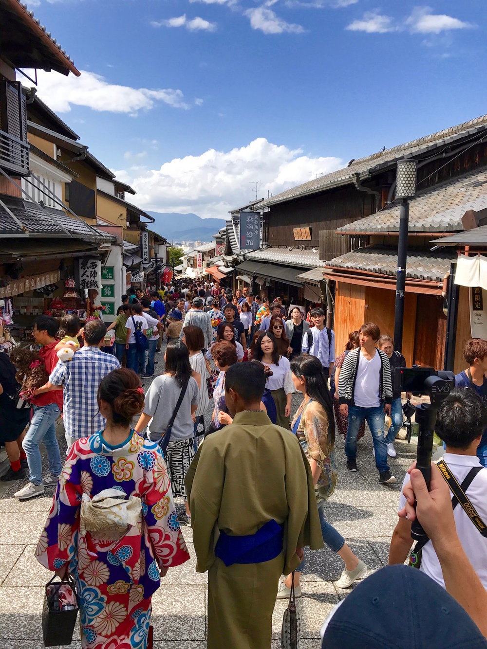 This is the NOT-so-quiet footpath we took down and away from Kiyomizudera Temple.
