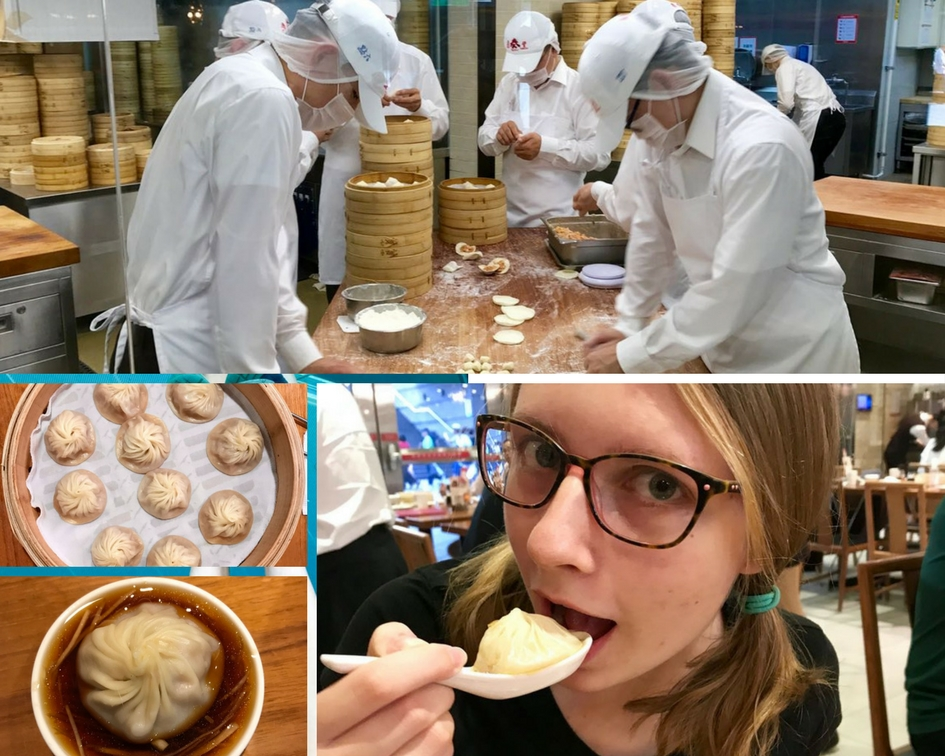 Handcrafted freshly, xiaolongbao takes an entire assembly team to keep up with demand at Din Tai Fung (top). We ordered ten dumplings per person (see the dumplings in all their glory in their steam basket), and we couldn't get enough of the delicious dipping sauce (bottom left), as indicated by Autumn's thorough xiaolongbao enjoyment (bottom right).