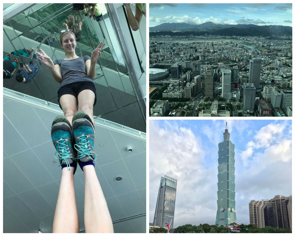 Built to resemble a bamboo stalk, Taipei 101 towers over its neighboring skyscrapers (bottom right) giving expansive views over the city (top right). Autumn stands on a series of mirrors inside Taipei 101's observation gallery (left).