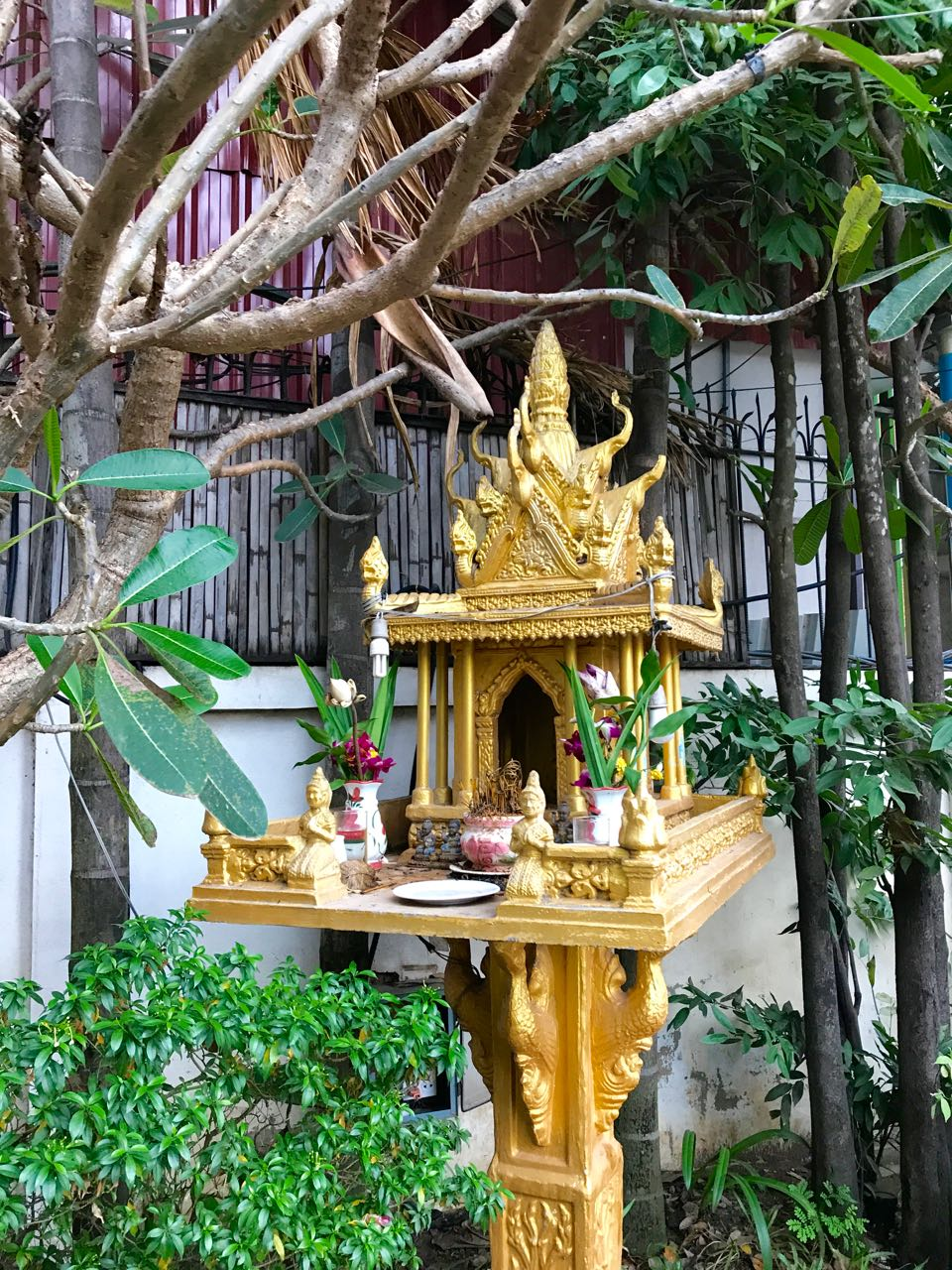 Usually placed at the corner of a property of both of homes & businesses, spirit houses such as this one in Cambodia near our Khmer house intend to house spirits who may wreak havoc on people if they aren't appeased in some way... usually by daily offerings of flower garlands, fruit or the burning of incense.