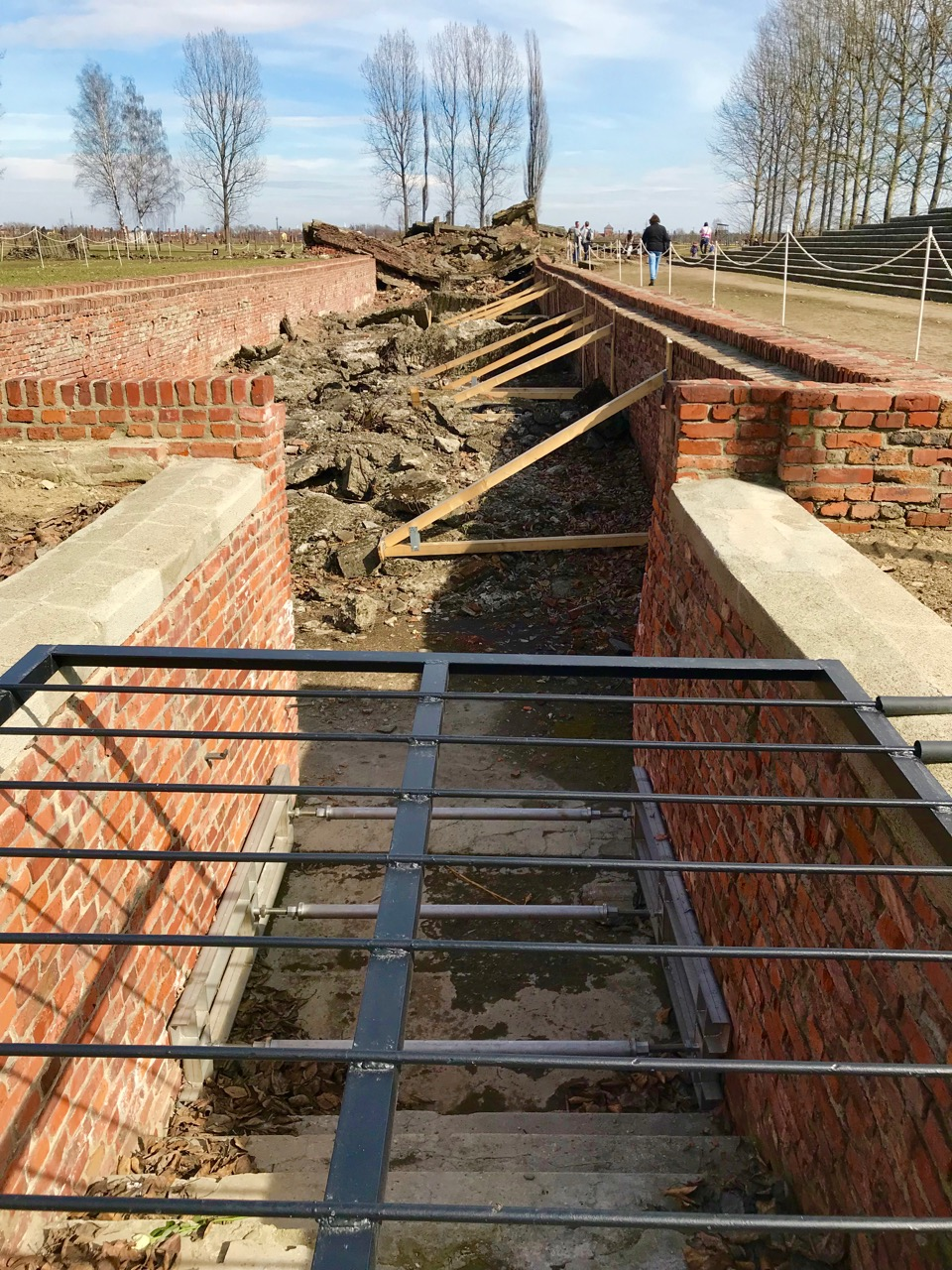 Rubble left behind after Nazis attempted to destroy a Birkenau gas chamber and crematorium