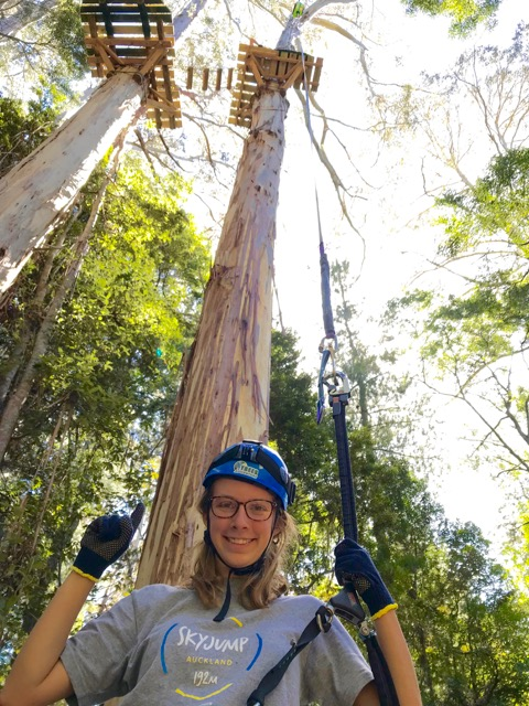 """Autumn after """"sticking"""" her leap from a tree at  Hollybank Treetops Adventure Ropes Course  in Launceston, Tasmania in Australia."""