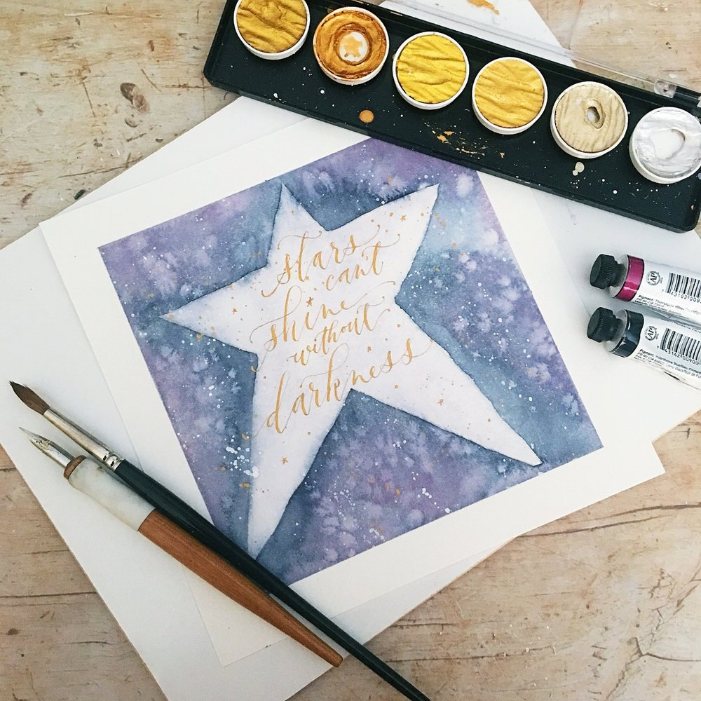 My lesson for  Just Add Water  goes live tomorrow! I will lead you through my process in creating a sparkly galaxy effect using traditional watercolors along with the Finetec gold watercolor palette.  Then we will pair this effect with the pointed pen to design a favorite quote.  It could be a quote about stars, magic, the galaxy, unicorns --- or whatever magical, special quote you want to use!