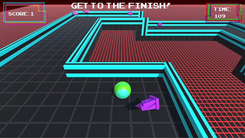 Shown above is the second level of Spheriohack.  In the lower center of the screen is the green and blue ball which is the Player.  To the right of the Player is a collectable, which gains points and adds time for the Player to finish the level.