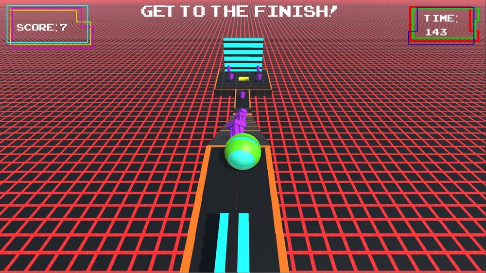 Above is the end part of the third level.  In the center of the bottom of the screen is a wall, which the Player can run into and bounce off of.  Underneath the platforms are red lasers which will destroy the Player if they were to fall and touch them.  The yellow hole at the end is the goal, and will progress the Player through the level.