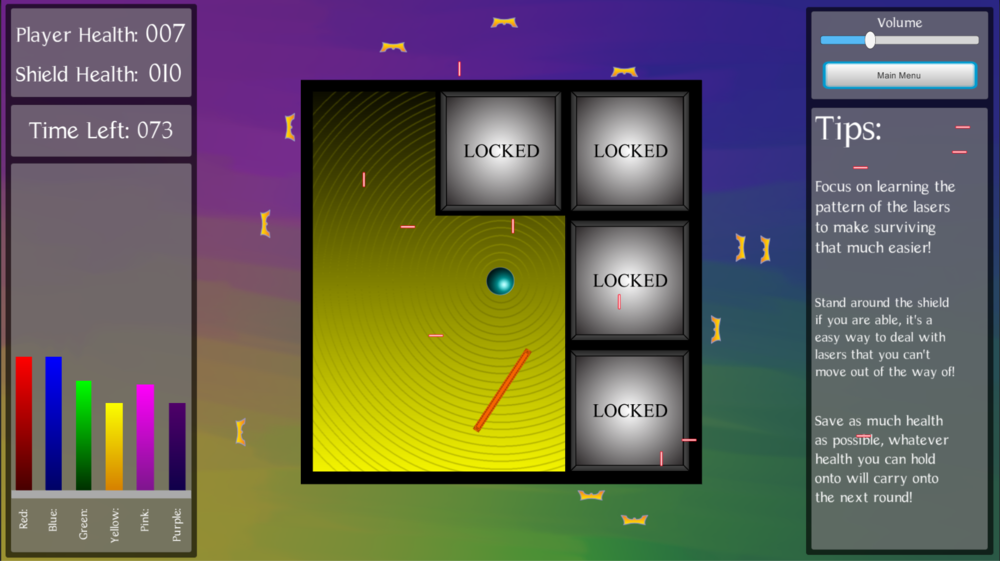This is phase two of Project Run.  The Player (blue orb) must dodge the lasers from the turrets (yellow W's) until time runs out.  At that point, phase one restarts but increases in difficulty.
